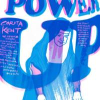 "This poster is blue, pink, and white of the text ""Power Up"" and a Nun making a print at the left of the image."